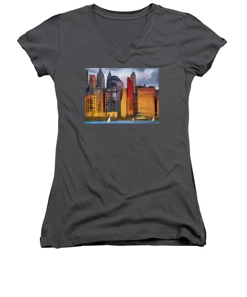 Beautiful City Manhattan Digital Painting Women's V-Neck T-Shirt (Junior Cut) by Georgi Dimitrov