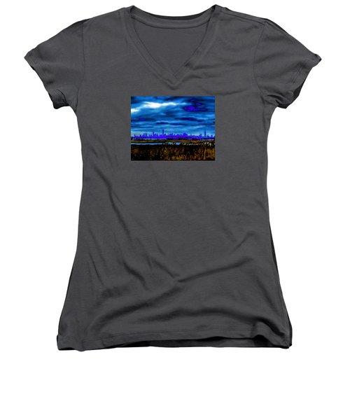 Manhattan Project Women's V-Neck T-Shirt (Junior Cut) by Michael Nowotny