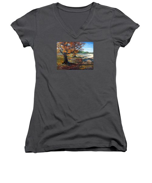 Women's V-Neck T-Shirt (Junior Cut) featuring the painting Maple Lane by Lee Piper