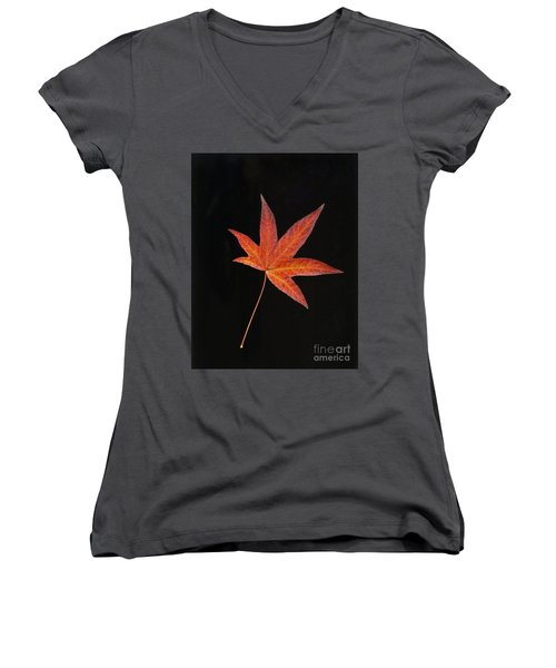 Maple Leaf On Black 2 Women's V-Neck