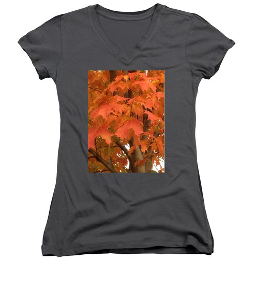 Maple Orange Women's V-Neck (Athletic Fit)