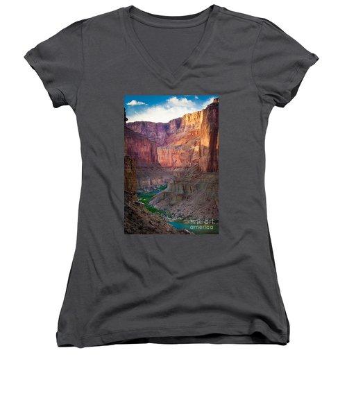Marble Cliffs Women's V-Neck T-Shirt (Junior Cut) by Inge Johnsson