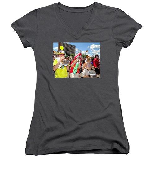Women's V-Neck T-Shirt (Junior Cut) featuring the photograph Marching Band by Ed Weidman
