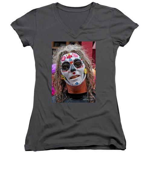 Mardi Gras Happy Face Women's V-Neck (Athletic Fit)