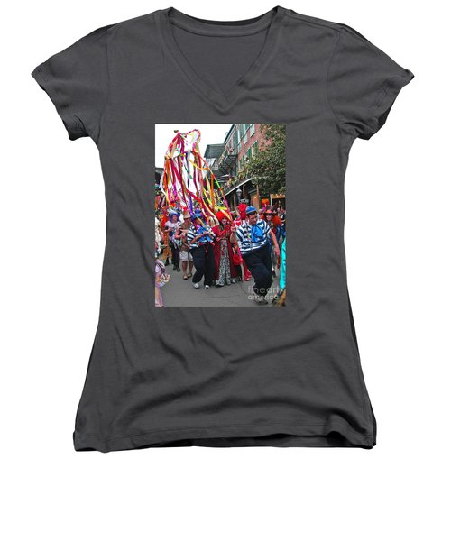 Mardi Gras In New Orleans Women's V-Neck (Athletic Fit)