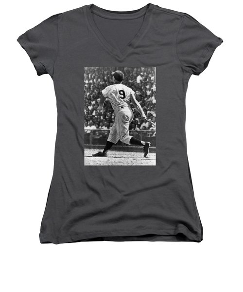 Maris Hits 52nd Home Run Women's V-Neck T-Shirt (Junior Cut) by Underwood Archives