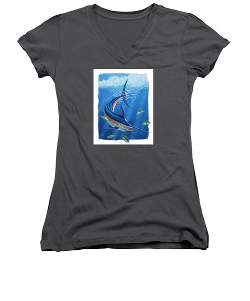 Women's V-Neck T-Shirt (Junior Cut) featuring the digital art Marlin by Scott Ross