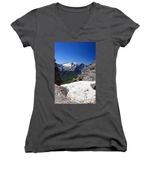Women's V-Neck T-Shirt (Junior Cut) featuring the photograph Marmolada From Saas Pordoi by Antonio Scarpi