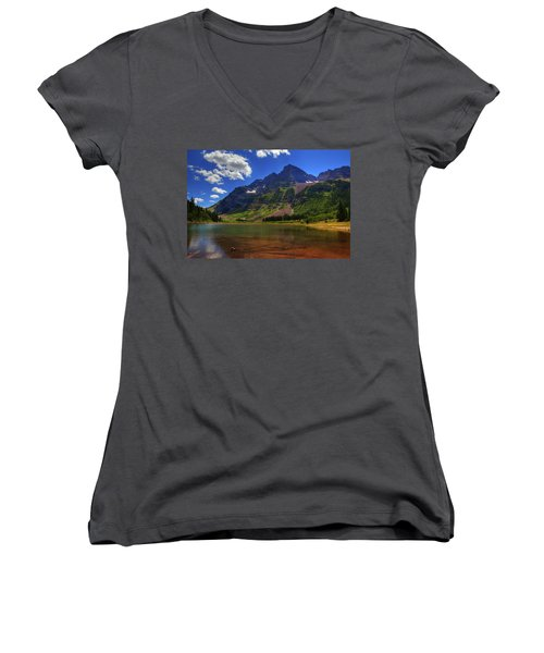 Women's V-Neck T-Shirt (Junior Cut) featuring the photograph Maroon Bells by Alan Vance Ley