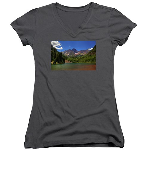 Women's V-Neck T-Shirt (Junior Cut) featuring the photograph Maroon Bells From Maroon Lake by Alan Vance Ley