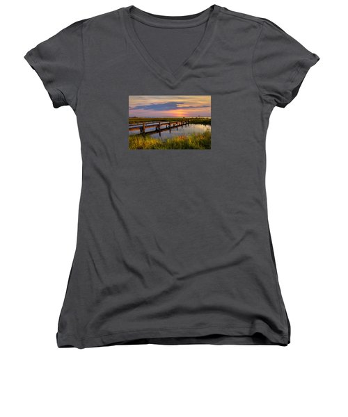 Marsh Harbor Women's V-Neck T-Shirt (Junior Cut) by Debra and Dave Vanderlaan