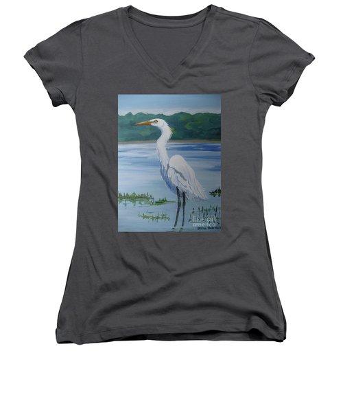 Marsh Land Egret Women's V-Neck