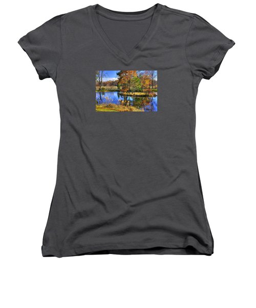 Maryland Country Roads - Autumn Respite No. 1 - Stronghold Sugarloaf Mountain Frederick County Md Women's V-Neck T-Shirt (Junior Cut) by Michael Mazaika