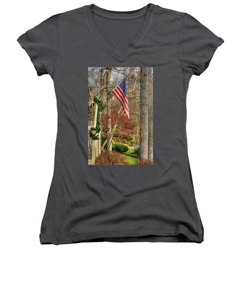 Maryland Country Roads - Flying The Colors 1a Women's V-Neck T-Shirt