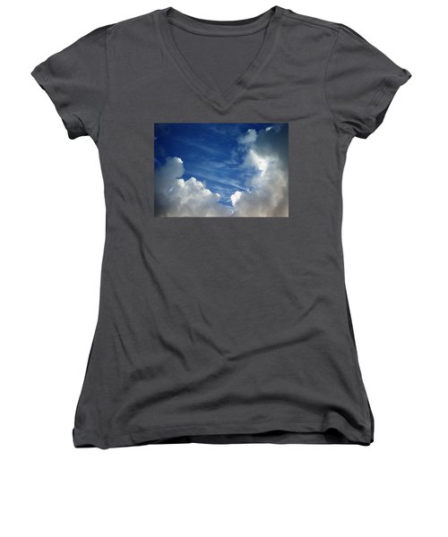 Women's V-Neck T-Shirt (Junior Cut) featuring the photograph Maui Clouds by Evelyn Tambour