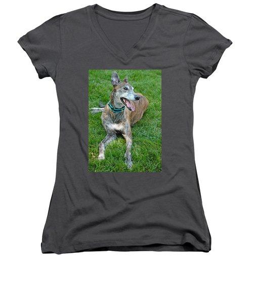 Women's V-Neck T-Shirt (Junior Cut) featuring the photograph Maverick by Lisa Phillips