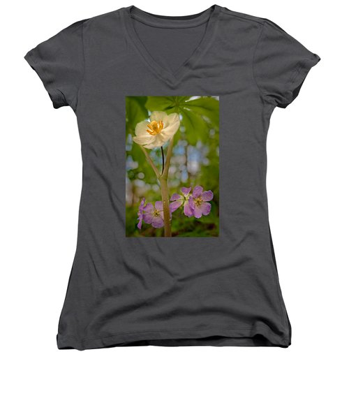 May Apples And Wild Geraniums Women's V-Neck (Athletic Fit)