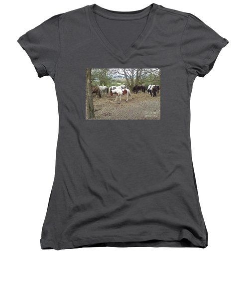 May Hill Ponies 2 Women's V-Neck (Athletic Fit)