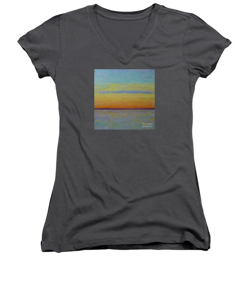 May Sunset Women's V-Neck T-Shirt (Junior Cut) by Gail Kent