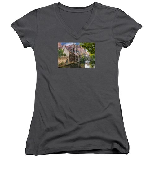 Medieval Bruges Women's V-Neck T-Shirt (Junior Cut) by Juli Scalzi