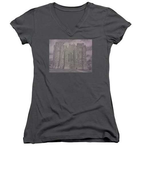 Medieval Cathedral Women's V-Neck T-Shirt (Junior Cut) by Christy Saunders Church