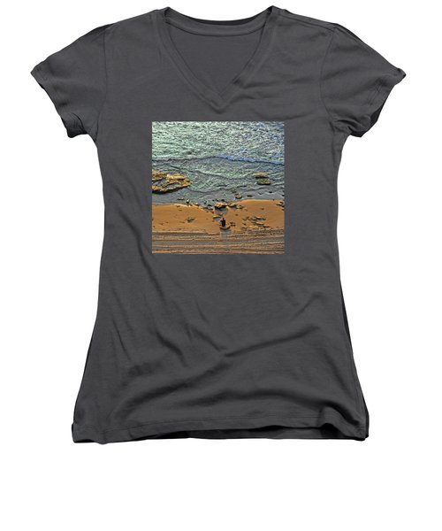 Women's V-Neck T-Shirt featuring the photograph Meditation by Ron Shoshani