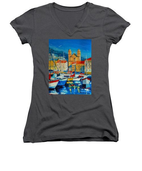 Mediterranean Harbor Women's V-Neck (Athletic Fit)