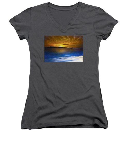 Mediterranean Sunrise Women's V-Neck T-Shirt (Junior Cut) by Hanny Heim