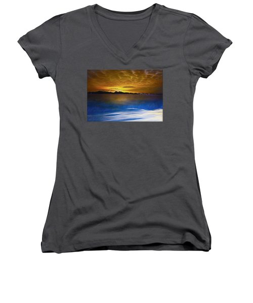 Mediterranean Sunrise Women's V-Neck (Athletic Fit)