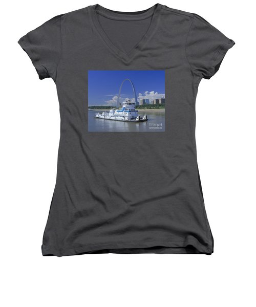 Memco Towboat In St Louis Women's V-Neck T-Shirt (Junior Cut) by Garry McMichael