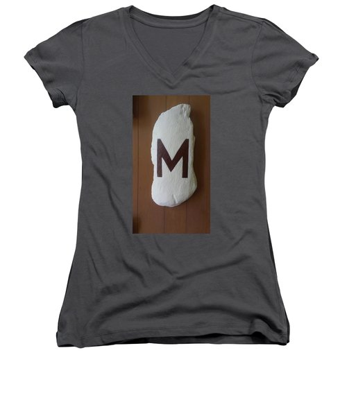Women's V-Neck T-Shirt (Junior Cut) featuring the painting Menominee Maroons by Jonathon Hansen