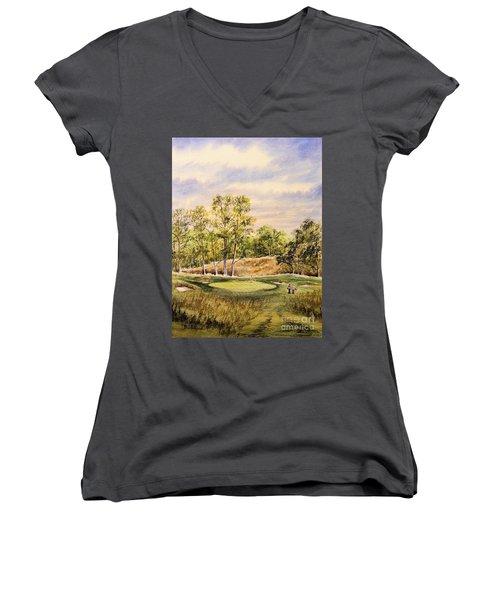 Merion Golf Club Women's V-Neck T-Shirt (Junior Cut) by Bill Holkham