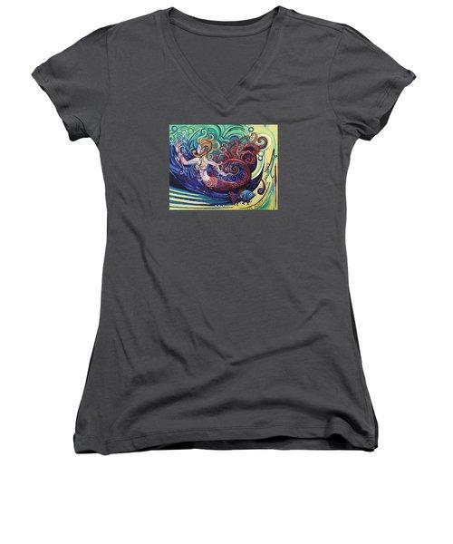 Mermaid Gargoyle Women's V-Neck T-Shirt (Junior Cut) by Genevieve Esson