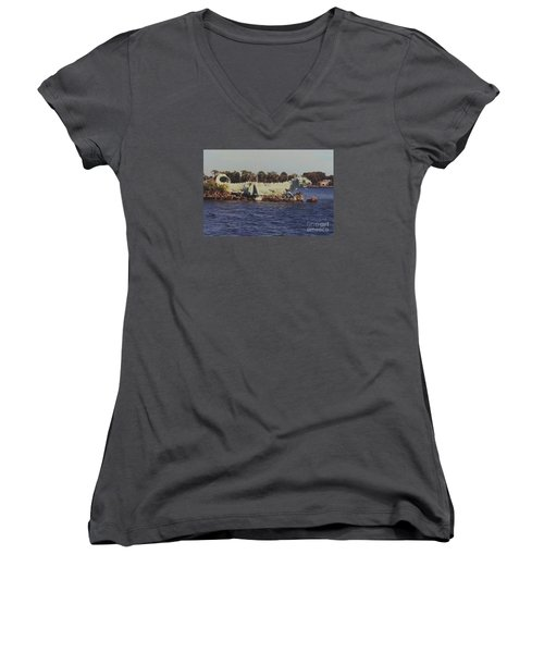 Merritt Island River Dragon Women's V-Neck T-Shirt (Junior Cut) by Bradford Martin