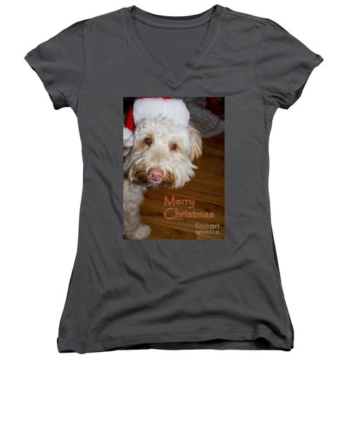 Merry Christmas From A Labrdoodle Card Women's V-Neck T-Shirt