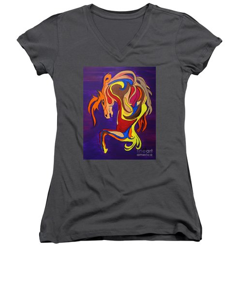 Women's V-Neck T-Shirt (Junior Cut) featuring the painting Merry Go Round Carousel Horse by Janice Rae Pariza