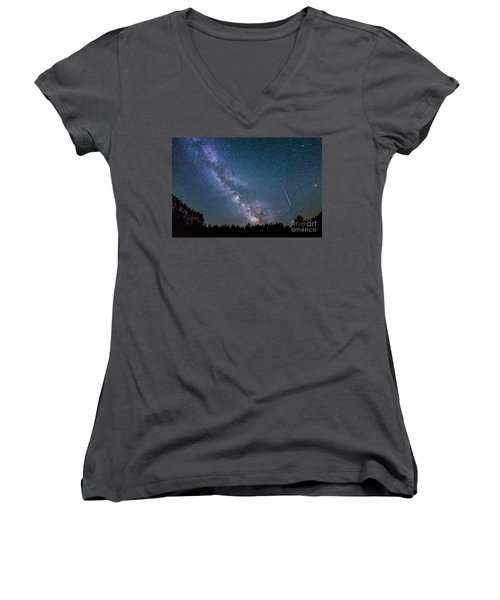 Meteor Milky Way  Women's V-Neck T-Shirt (Junior Cut)