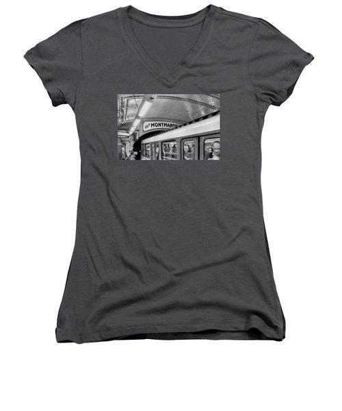 Women's V-Neck T-Shirt (Junior Cut) featuring the photograph Metro At Montmartre. Paris by Jennie Breeze