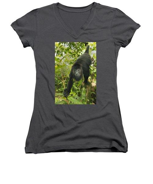 Mexican Black Howler Monkey Belize Women's V-Neck