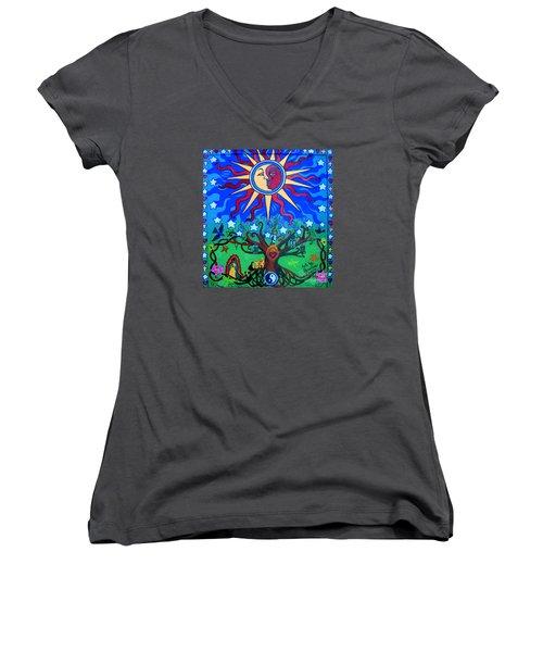 Mexican Retablos Prayer Board Small Women's V-Neck T-Shirt (Junior Cut) by Genevieve Esson