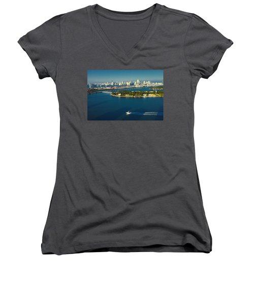 Miami City Biscayne Bay Skyline Women's V-Neck