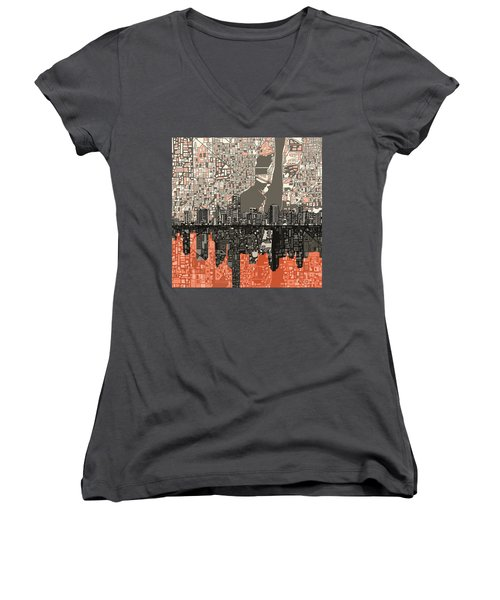 Miami Skyline Abstract 2 Women's V-Neck T-Shirt (Junior Cut) by Bekim Art