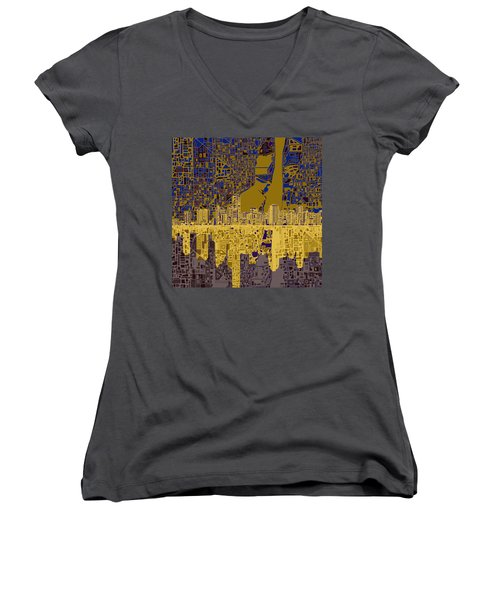 Miami Skyline Abstract 3 Women's V-Neck T-Shirt (Junior Cut) by Bekim Art