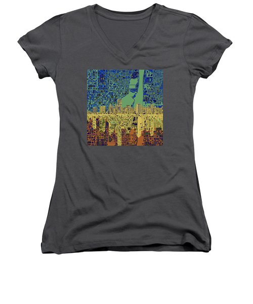 Miami Skyline Abstract 7 Women's V-Neck T-Shirt (Junior Cut) by Bekim Art