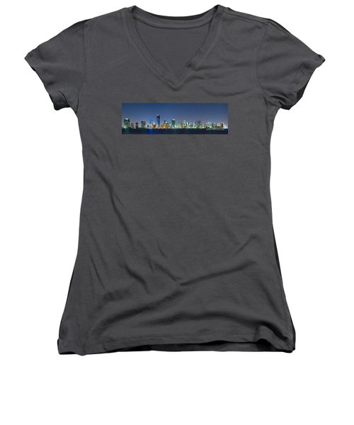 Women's V-Neck T-Shirt (Junior Cut) featuring the photograph Miami Skyline At Night by Carsten Reisinger