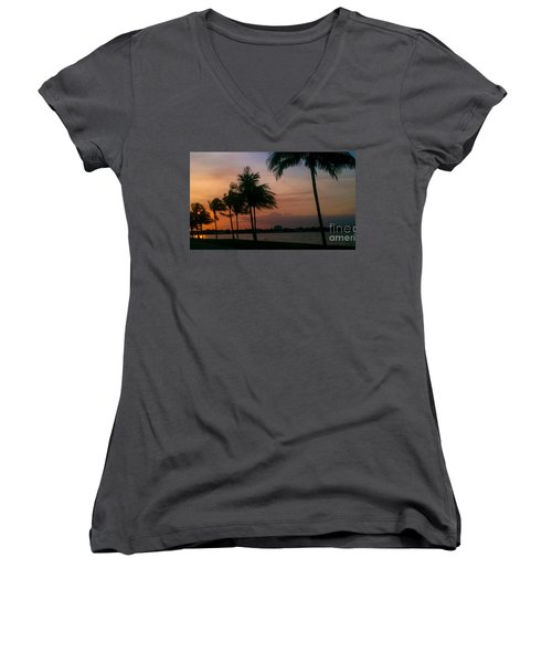 Miami Sunset Women's V-Neck (Athletic Fit)