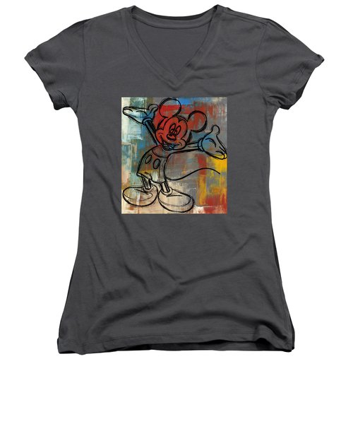Mickey Mouse Sketchy Hello Women's V-Neck T-Shirt (Junior Cut) by Paulette B Wright
