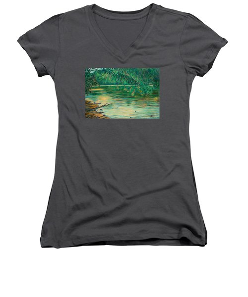 Women's V-Neck T-Shirt (Junior Cut) featuring the painting Mid-spring On The New River by Kendall Kessler