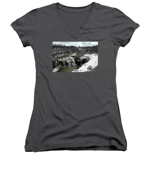 Middle Falls Rochester Ny Women's V-Neck T-Shirt