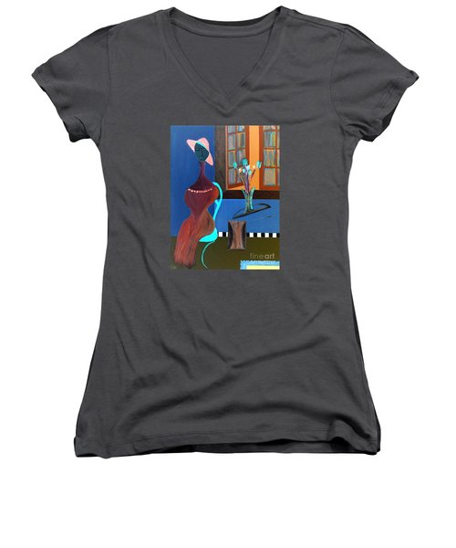 Midnight On The Terrace Women's V-Neck (Athletic Fit)
